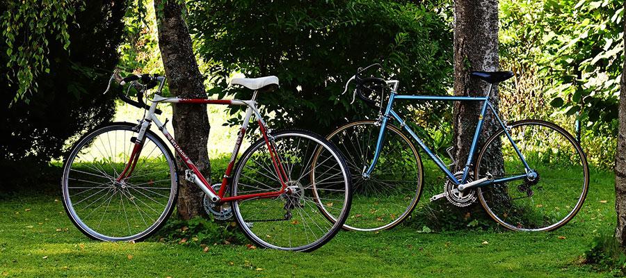 Olika cykeldelar på en cykel